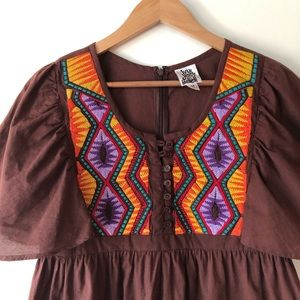 ivy jane Dresses - Ivy Jane Brown Embroidered Tunic Dress size M